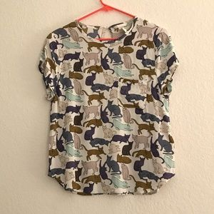 H&M colorful Cat Blouse